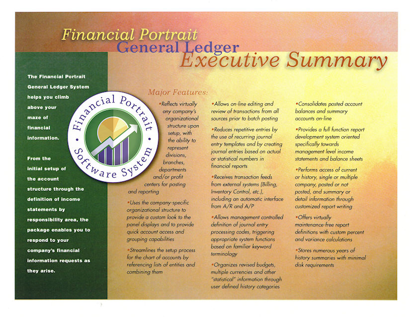 Financial Portrait General Ledger Executive Summary